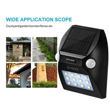 ICOCO 12LED Outdoor Motion Sensor Solar Lights Wide Angle Design with White & Red Color Adjustable Brightness 2 Motion Heads
