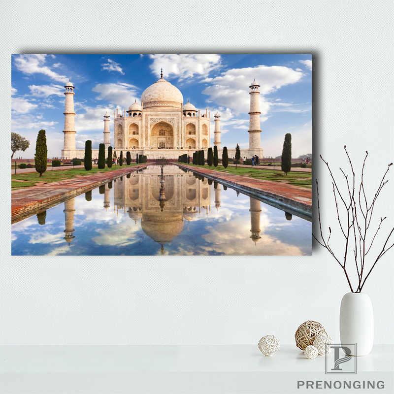 Custom ผ้าใบโปสเตอร์ Taj Mahal การพิมพ์โปสเตอร์ผ้าผ้า Wall Art รูปภาพสำหรับตกแต่งห้องนั่งเล่น #18-12-05-01