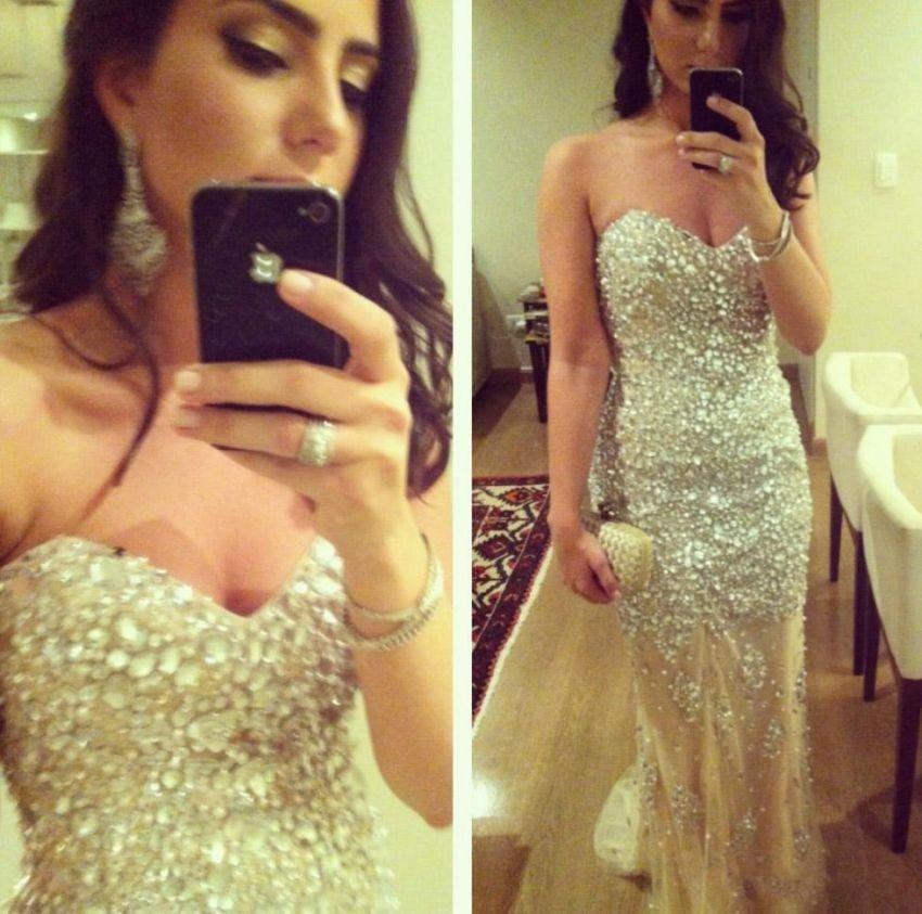Шикарные сверкающие кристаллы платья для выпускного бала с бусинами милое декольте ТРАПЕЦИЕВИДНОЕ Тюлевое Платье vestidos de fiesta платье для выпускного вечера XY160