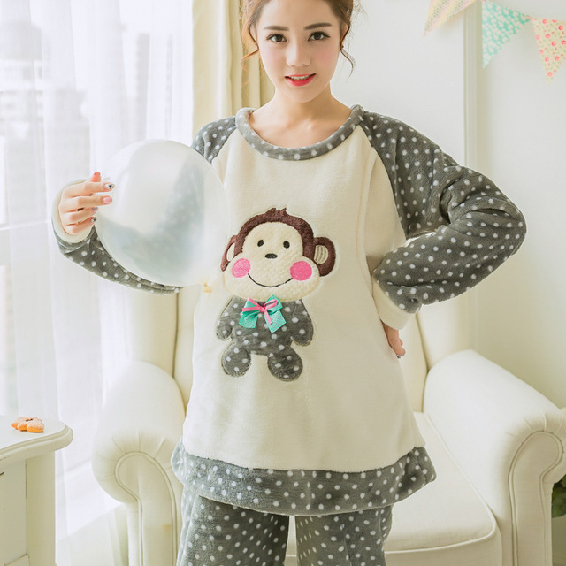 fc4b3850bca Winter Flannel Thickened Maternity Pajamas for Pregnant Women Gray  Embroidery Monkey Breastfeeding Pregnancy Clothes Top+Pants