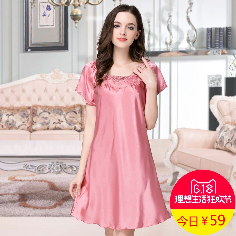 fa20afef5b Genuine Silk Nightdress Female Embroidery Nightgowns Summer Short Sleeve  Real Silk Sleepwear Natural Silk Nightdress B-5405