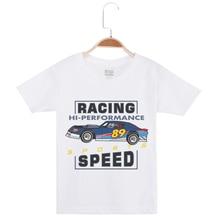 Limited Time Discount Boys Basic White Tee Shirts Boy Tshirt Hipster Cotton Half Sleeve Brand T-Shirt Racing Car Print Kids Tees