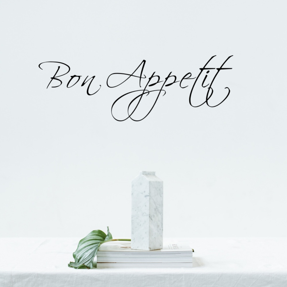 French word Bon Appetit Kitchen Vinyl Wall Sticker Dining Room Living room Bedroom Removable Wall Decor Home Decoration