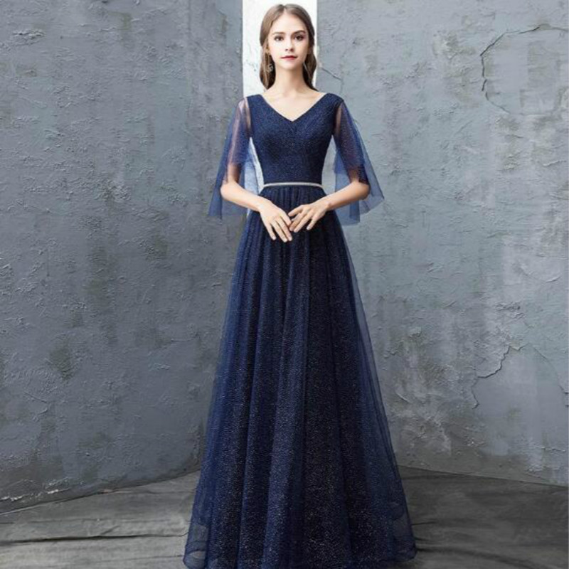 U-SWEAR 2019 New Arrival Long Party   Dress     Bridesmaid     Dress   V-neck Lace Sequin Half Sashes A-Line   Dress   Elegant Slim Vestidos