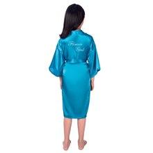 Платье с цветочным узором для девочек с буквенным принтом халаты однотонный Атлас детский халат подружки невесты детское кимоно халаты Детская ночная рубашка вечерние халат L5
