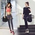 Mulheres duas peças yoga pant legging roupas de ginástica do esporte para a execução de construção do corpo de fitness apertado sportwear s-xl livre grátis