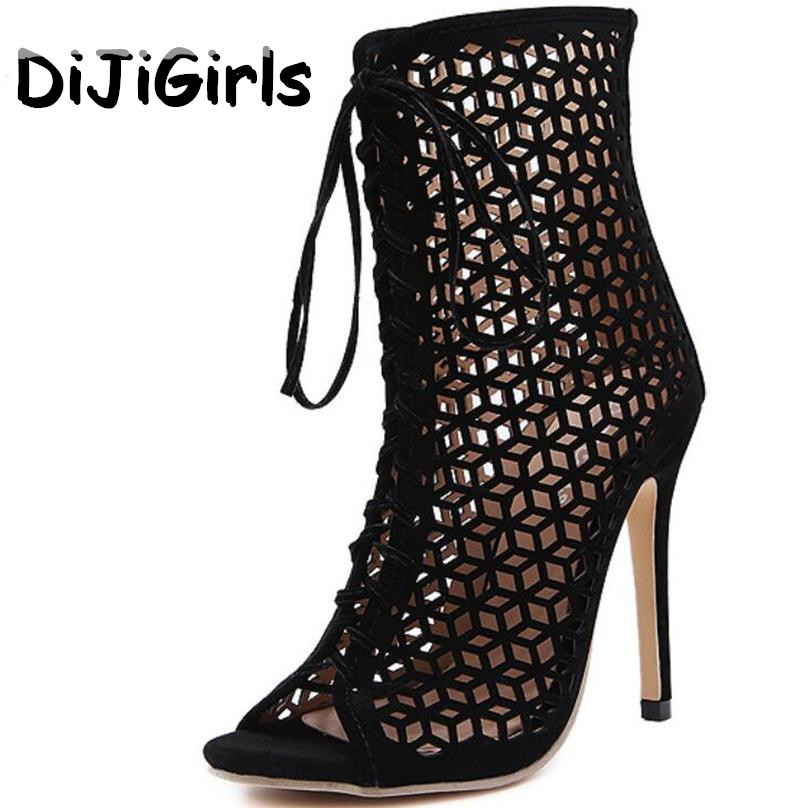 DiJiGirls Summer Sandals Gladiator High Heels Women Sexy Front Open Cross Strap Stilettos Pumps Genova Shoes Woman Ankle Boots цены онлайн