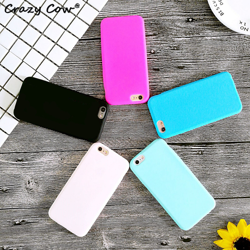 crazy cow fashion candy color pink mobile phone case for iphone 6 cover soft silicone funda - Buy Candy By Color