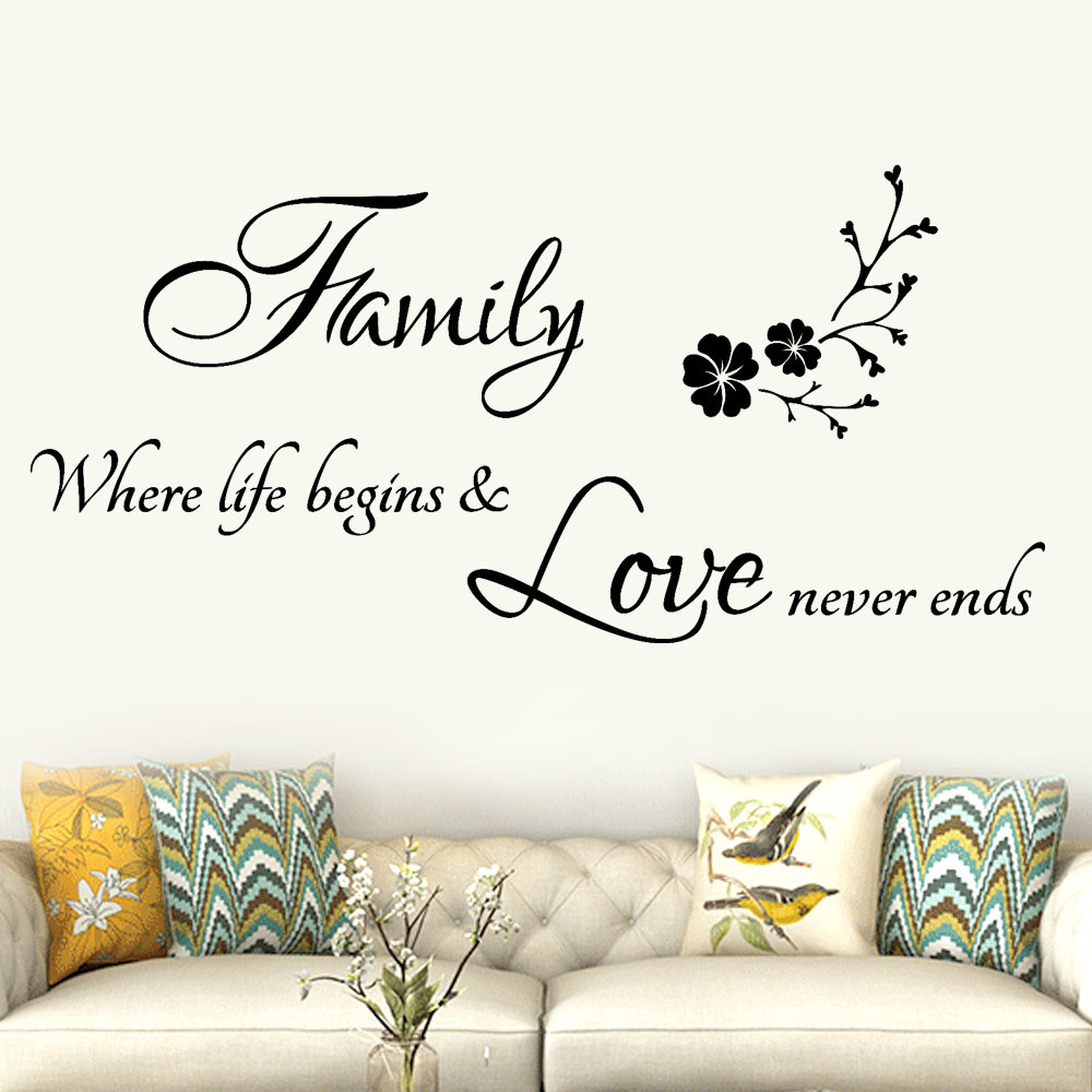 Fashion Personalized Alphabet Phrase Wall Stickers Family Removable ...