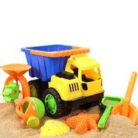 7pcs Cars Beach Toys Sand Bath Toys Set Dune Bucket Rakes Sand Wheel Watering Sand Play