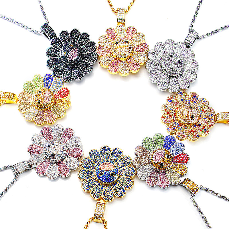 Dropship 2019 New Murakami Sun Flower Necklace Flower Colorful Petal Smiley Hip Hop Rotating Pendant Necklace Party Holiday Gift
