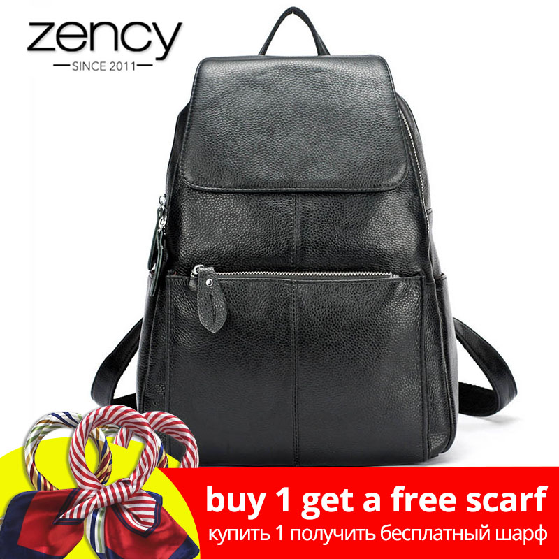 Zency Fashion Color 100% Äkta Läder Casual Kvinnors Ryggsäckar Casual Travel Ryggsäck Laptop Bag Dam Pocket Girl Schoolbag