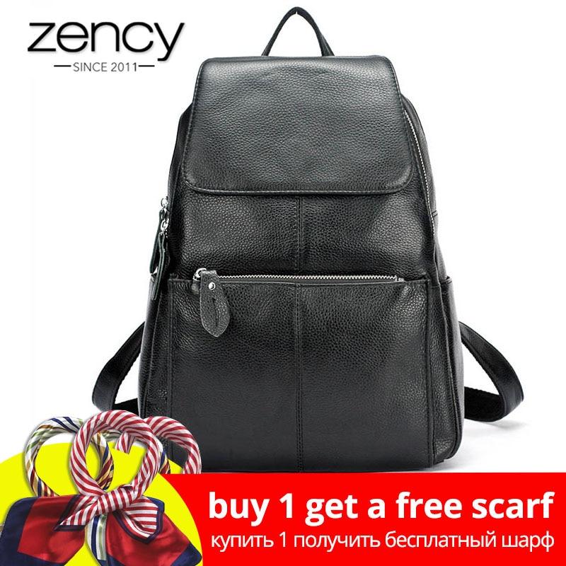 Zency Mode Farbe 100% Echtem Leder Casual frauen Rucksäcke Casual Reise Rucksack Laptop Tasche Damen Tasche Mädchen Schul