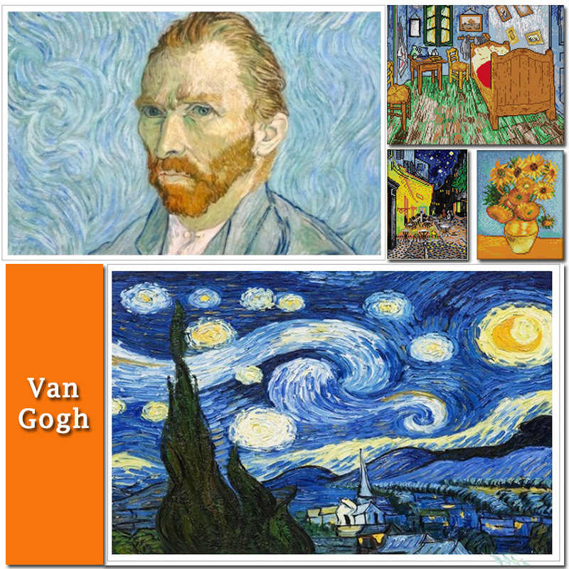 Satu Ruangan Malam Berbintang Van Gogh Kanvas DMC Dihitung Cina Cross Stitch Kit Dicetak Cross-Stitch Set bordir