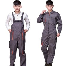 working uniforms Work overalls men women protective coverall repairman strap jumpsuits trousers Plus Size sleeveless coveralls(China)