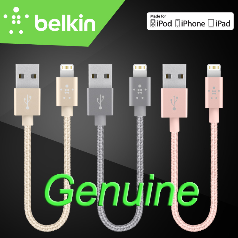 15cm Belkin Original MFi Certified Lightning to USB 8 pin Mobile Phone Metallic Short Cable charge