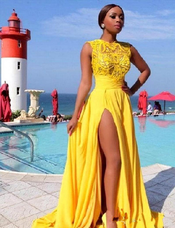 Bright Yellow Prom Dresses Side Split Chiffon Lace Appliques Dubai Evening Gowns 2019 Sheer Sexy Party Gowns