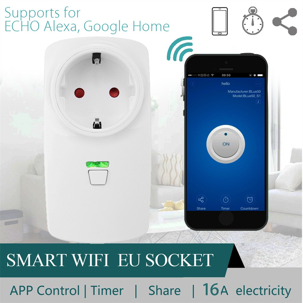 HIPERDEAL 16A Wifi Smart EU Plug Power Socket Outlet APP For Amazon Alexa For Echo Google Drop Shipping 1M27
