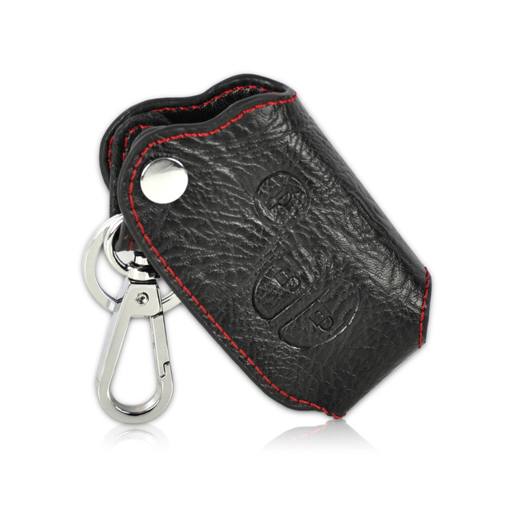 Citall new black genuine leather smart remote key chain case cover with 3 buttons for toyota