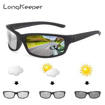 LongKeeper 2019 Sunglasses Men Chameleon Discoloration Sun Glasses Outdoors Sports Oval Driving gafas de sol de los hombres moda hombres de honor