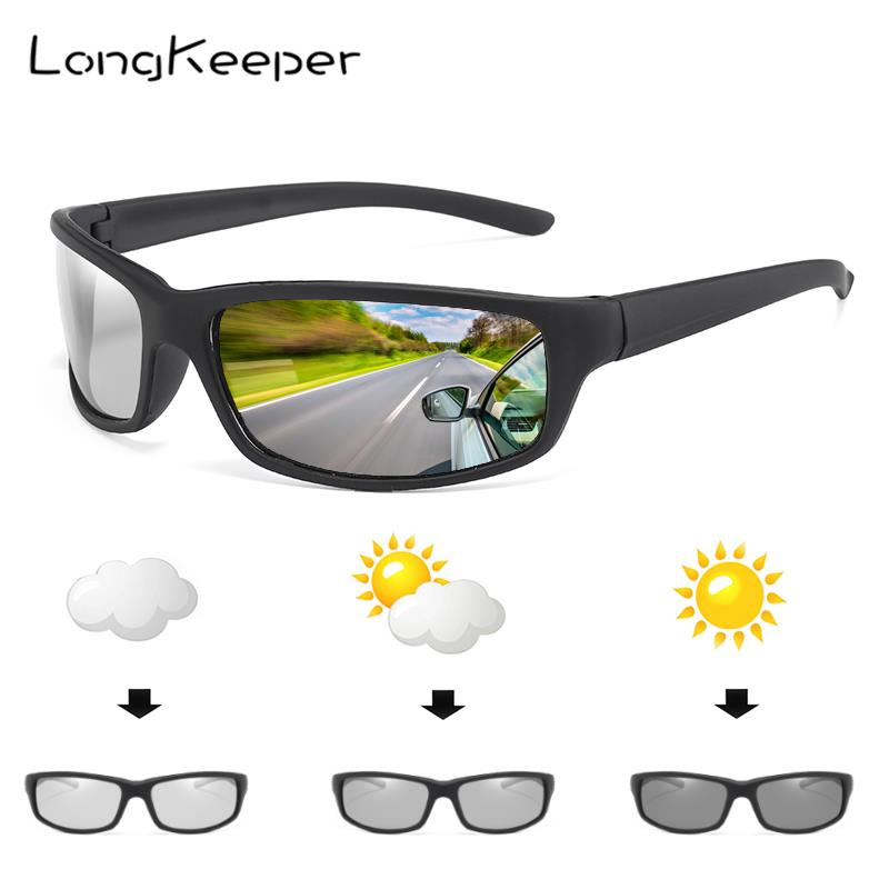 LongKeeper 2019 Sunglasses Men Chameleon Discoloration Sun Glasses Outdoors Sports Oval Driving Gafas De Sol De Los Hombres Moda