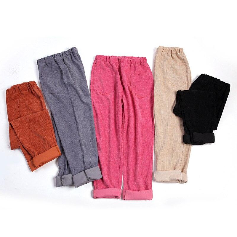 Four Seasons Corduroy Pants Women Elastic Waist Harem Casual Trousers Pantalon Mujer pants retro