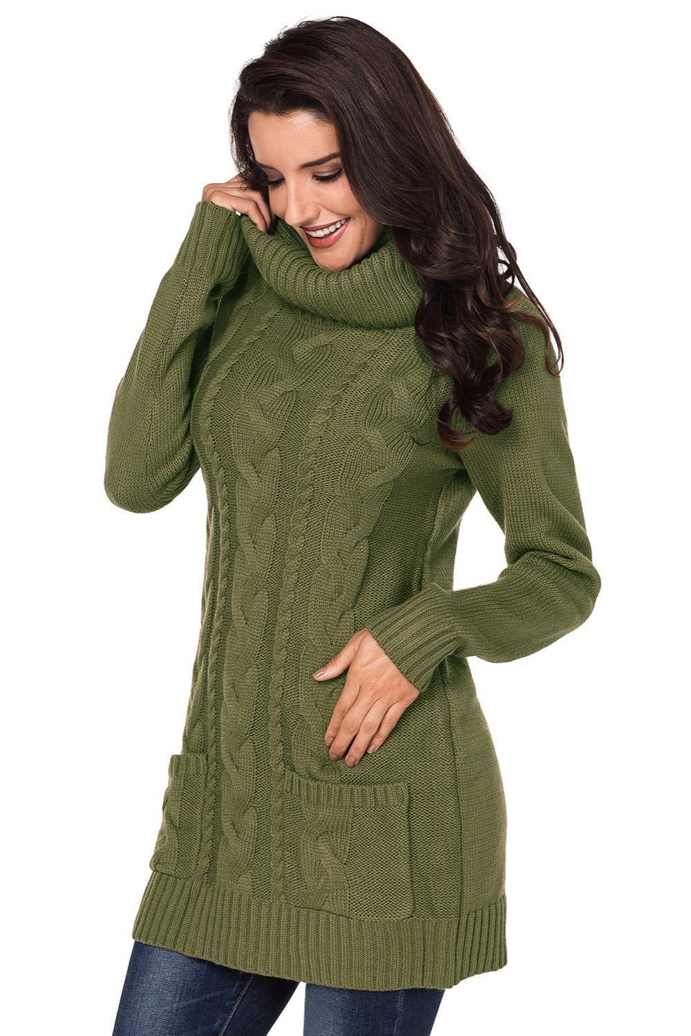 Olive-Cowl-Neck-Cable-Knit-Sweater-Dress-LC27836-9-4