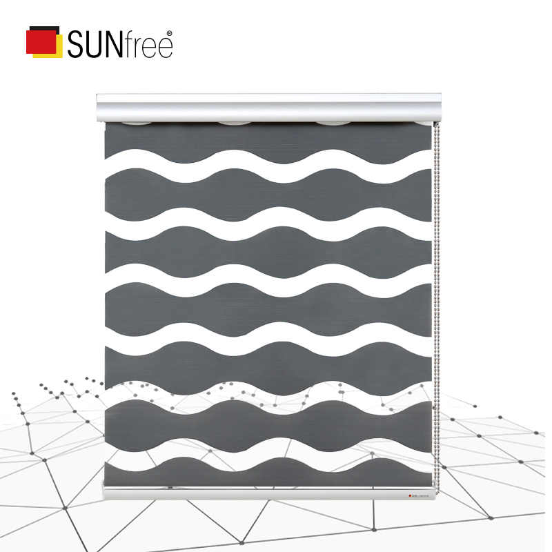 Unique Wave type Zebra Blinds Freely adjust light Customized size Fashion roller blinds Half shade or full shade