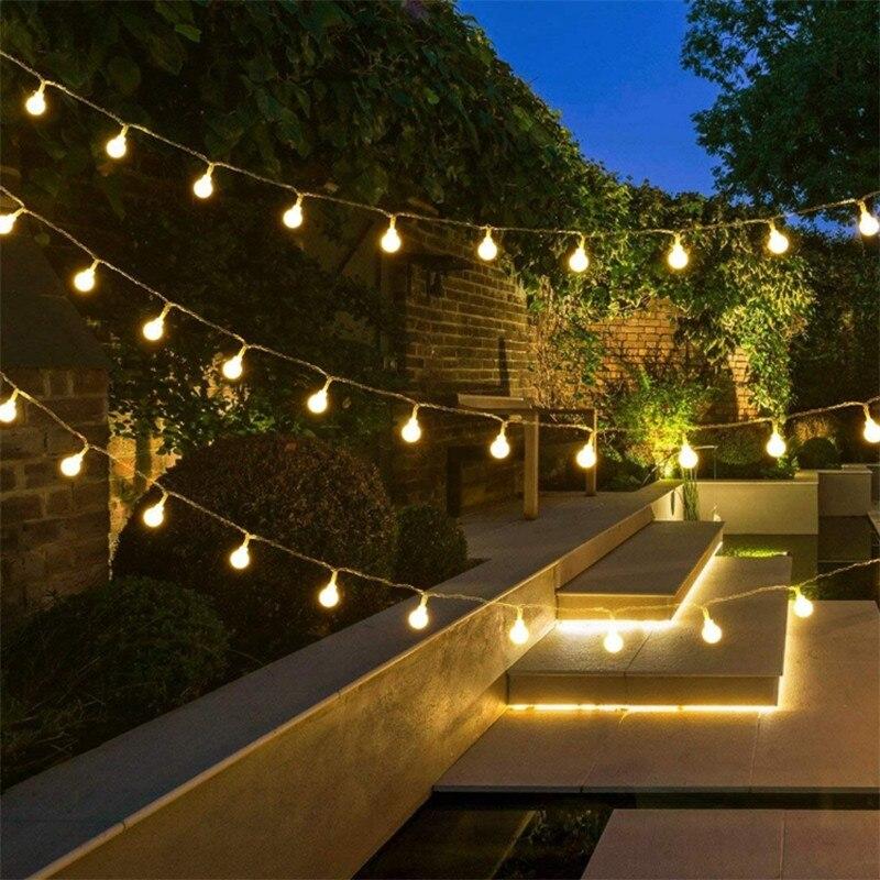 2 m/4 m/m 10 m 80Led Cherry Balls Hada String luces decorativas a batería boda Navidad al aire libre Patio guirnalda Decoración
