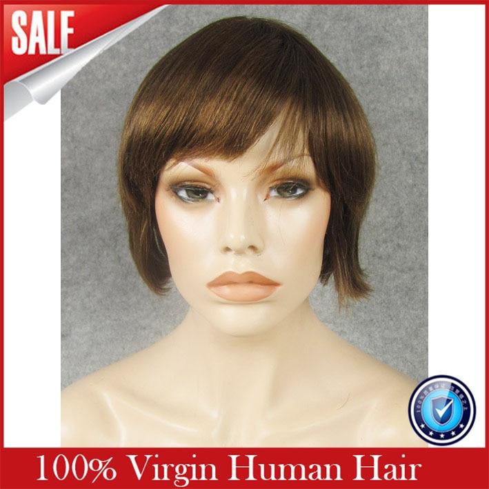 Free Shipping Full Lace Rihanna Chic Cut Short Wigs Hairstyle Dark Brown font b Brazilian b