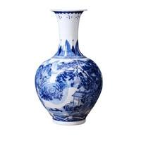 Jingdezhen ceramic handmade blue and white porcelain flower vase landscape painting vase home decoration crafts
