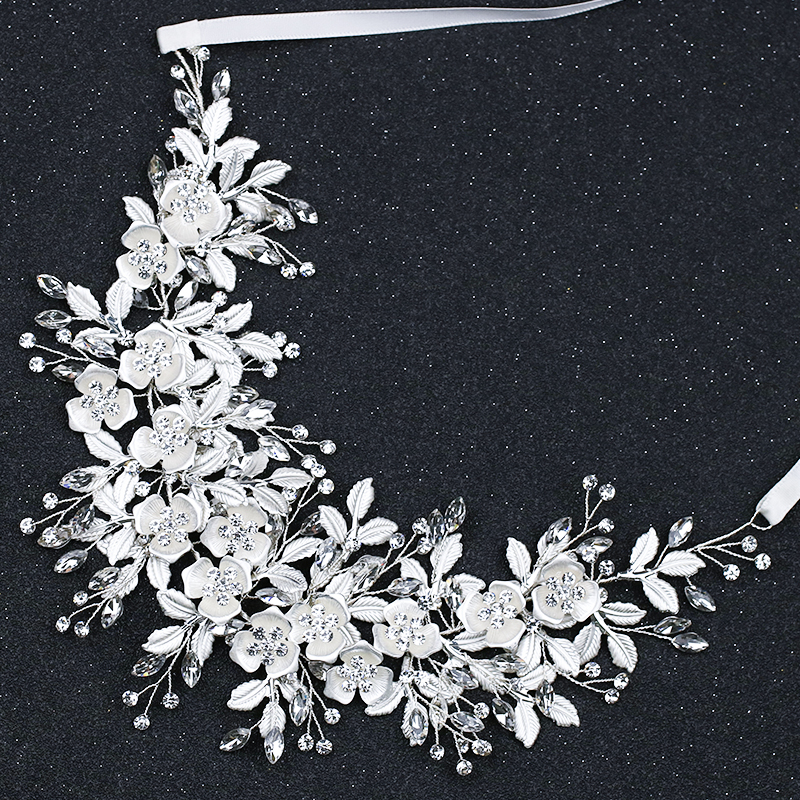 Silver Bride Headbands Flower Wedding Hairbands For Bride Women Accessories Hair Wedding Headbands Crystal Hair Ornaments кухонная мойка blanco subline 340 160 u silgranit жасмин чаша справа