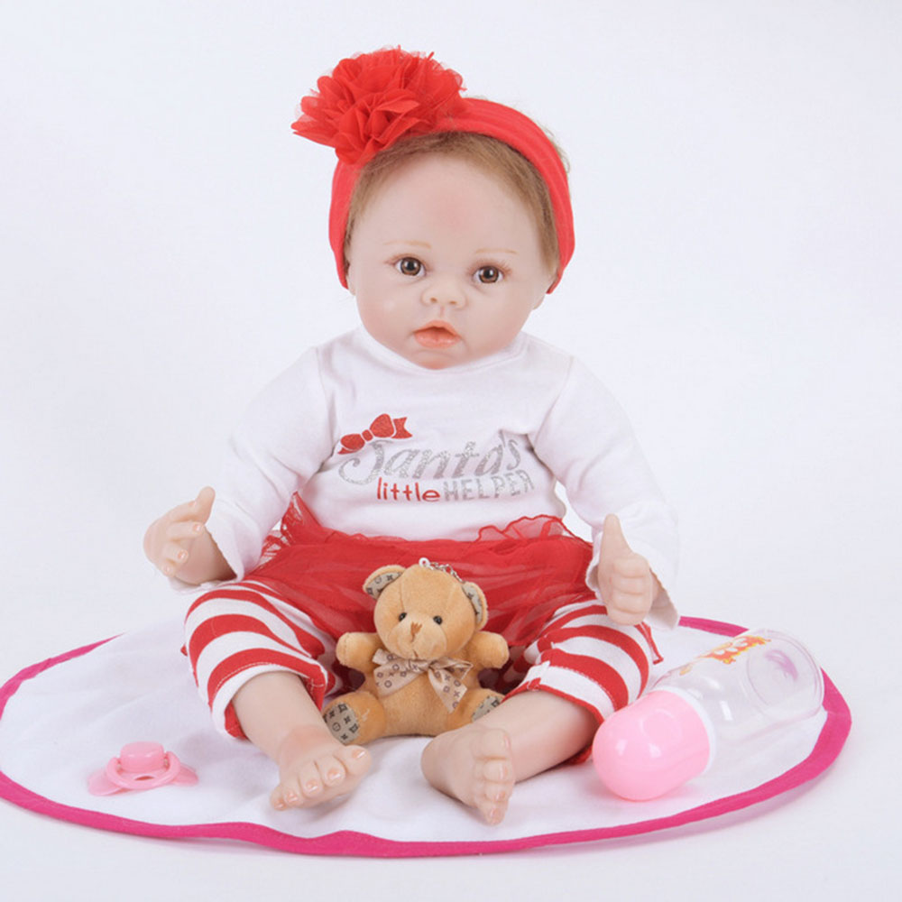 22 inches Reborn Girl Doll Soft Silicone Lovely Princess Newborn Baby with Cloth Body Toy for Kids Birthday Christmas Gift 22 inches realistic reborn girl doll soft silicone lovely princess newborn baby with cloth body toy for kids birthday xmas gift