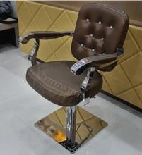 купить Salon chair barber chair salon haircut stainless steel handrails rotating chair lift chair salon chair lift дешево