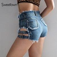 Sweetown Streetwear Fringe Shorts Vrouwen Bottoms Sexy Blauw Gat Korte Jeans Hoge Taille Lace Up Skinny Zomer Shorts 2018