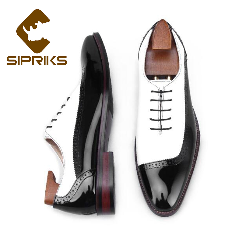 Sipriks Luxury Brand Patent Leather Black And White Patch Work Oxfords Elegant Male Wedding Party Dress Shoes Men Boss Business