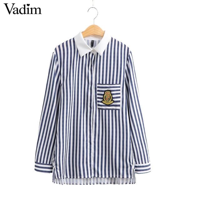 Mujeres de bolsillo parche rayas blusas largo leeve turn down camisa de cuello de estilo Europeo de las señoras marca casual tops blusas LT1273