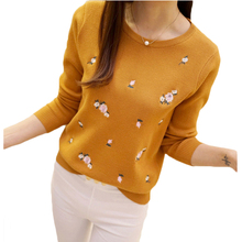 Embroidered Knitted O-Neck Long Sleeve Pullover Sweater