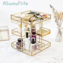 Retro Cosmetics Storage Box Transparent Rotary Shelf Glass Desktop Jewelry Bead Containers For Home