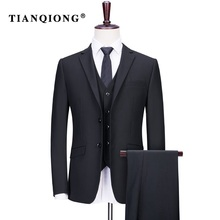 TIAN QIONG Brand Custom Made Suit Wedding Suits for Men Clothing 80% Polyester Slim Gentle Men Black Suits 3pcs Set Formal Wear
