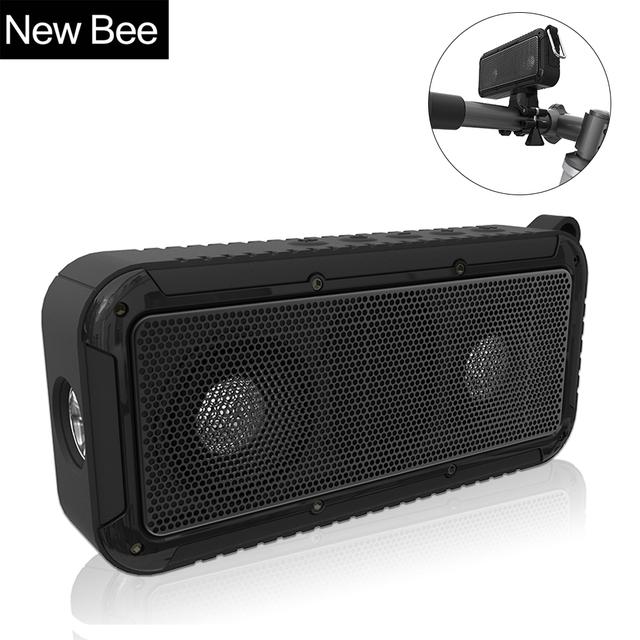 New bee portable al aire libre a prueba de agua inalámbrico barra de sonido con micrófono nfc bluetooth altavoz de la bici montaje de la bicicleta linterna led