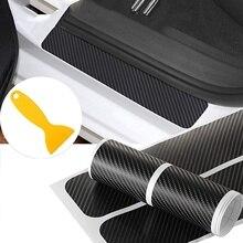 4pcs/set 3D Carbon Fiber Car Scuff Plate Door Sill Sticker Panel Protector and A Scraper (4D Sticker)