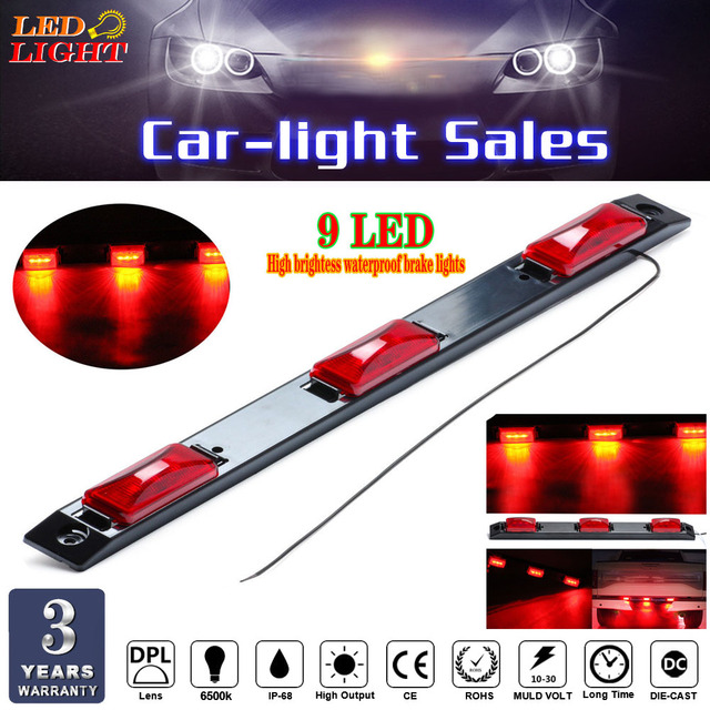 Keyecu 17 3 light 9 led clearance light bar surface mount red side keyecu 17 3 light 9 led clearance light bar surface mount red side maker light mozeypictures Choice Image