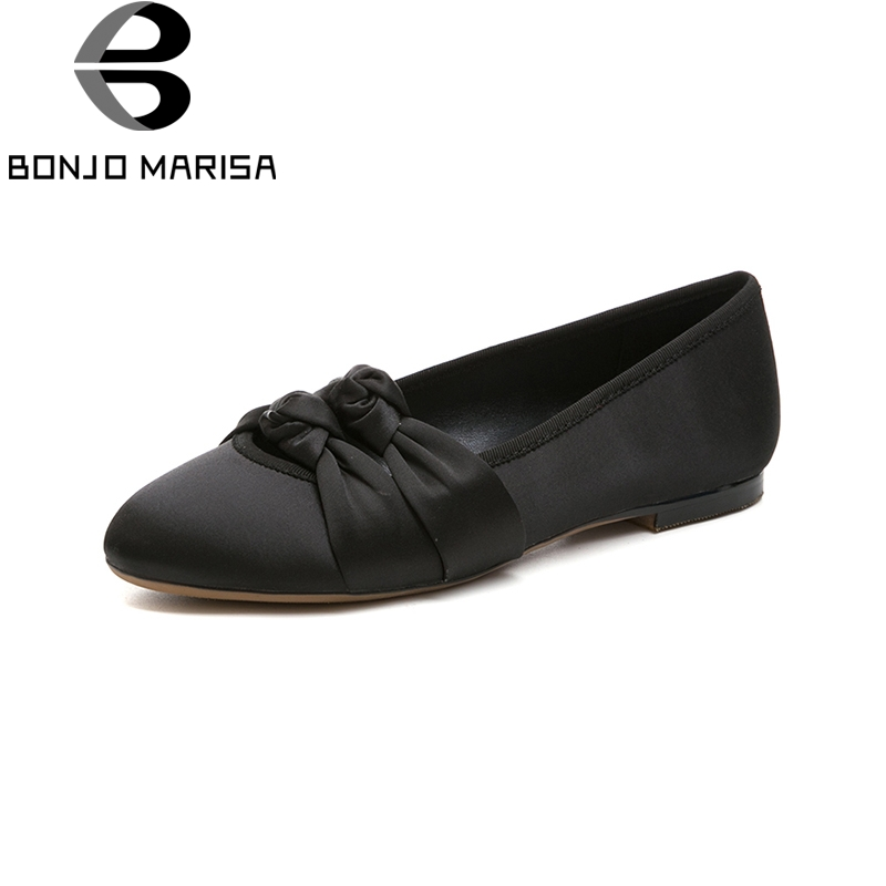 BONJOMARISA 2018 New Brand Round Toe Women Shoes Woman Slip On Spring Summer Shoes Casual Black Pink Woman Flats Szie 34-39 cresfimix women cute spring summer slip on flat shoes with pearl female casual street flats lady fashion pointed toe shoes