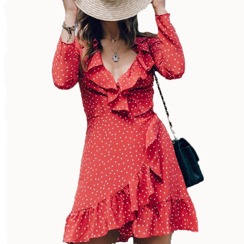2017 Ruffles Wrap Dress Women Star Print Summer Female Long Sleeve Deep V Mini Dress Sexy
