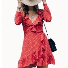 2017 Ruffles Wrap Dress Women Star Print Summer Female Long Sleeve Deep V Mini Dress Sexy Boho Irregular Beach Dress Vestido