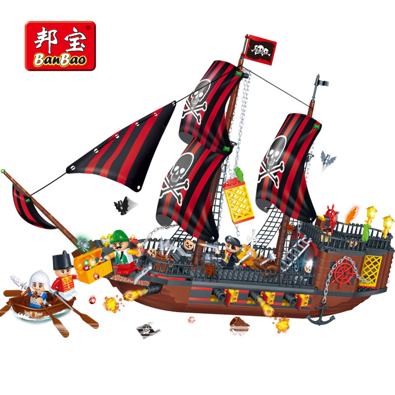 BanBao Pirates Of The Caribbean Sailboat Ship Building Blocks Educational Bricks Toy Model Children Kid Compatible With legoe caribbean warship pirates of the caribbean black pearl ship ghost ship large models building blocks educational birthday gift