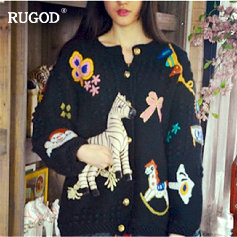 RUGOD New Casual Women Cardigans Long Sleeve Cartoon Women Sweater Knitted Warm Autumn Winter Tops christmas
