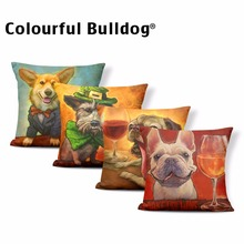 Фотография Dog Print  Schnauzer Cushion Corgi Pillow Cover Recliner Dog Lovers Gifts Throw Pillow Cases 17.7 Polyester / Cotton Romantic
