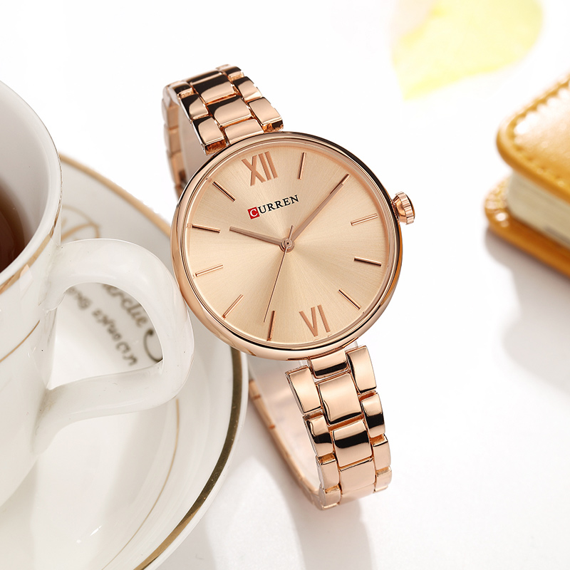 CURREN Ultra Thin Women's Watch With Metal Bracelet Woman Watch 2019 Rose Gold Watches Women Fashion Watch 2019 Luxury Stainless(China)